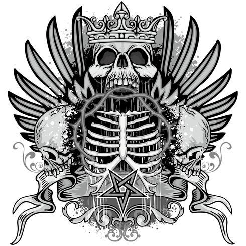 armoiries du crâne grunge vecteur