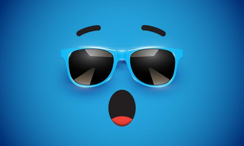 Haute émoticône colorée detiled avec lunettes de soleil, illustration vectorielle vecteur