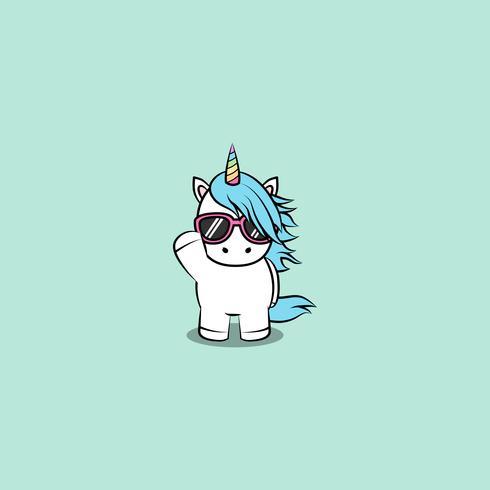 Licorne mignonne avec dessin animé de lunettes de soleil, illustration vectorielle vecteur