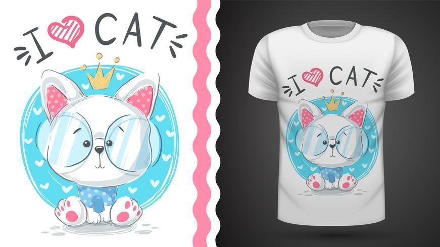 Tee-shirt princes princes cat - idea for print vecteur