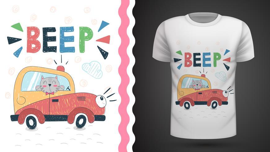 Chat dans la voiture - idée d'un t-shirt imprimé. vecteur