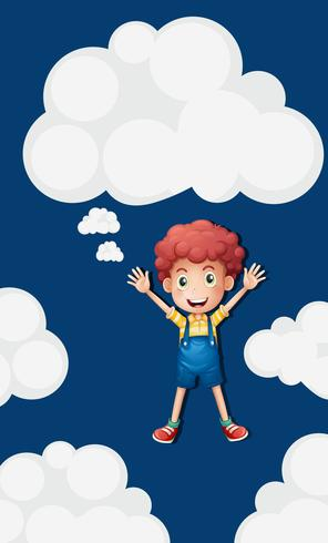 Garçon heureux dans le fond de ciel bleu vecteur