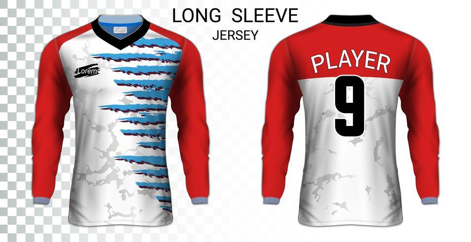 Modèle de maquette de t-shirts de maillots de football à manches longues, conception graphique pour les uniformes de football. vecteur