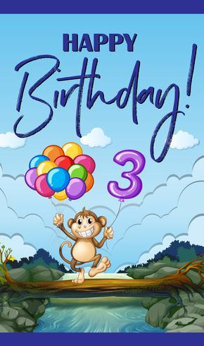 Carte de joyeux anniversaire pour trois ans vecteur