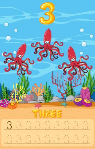 Feuille de travail sous l'eau de trois poulpes vecteur