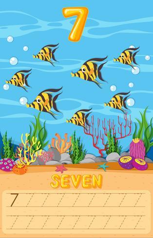 Fiche de travail sur sept poissons sous-marins vecteur