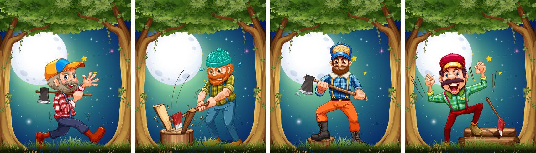 Lumbers couper du bois la nuit vecteur