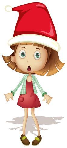 Jolie fille portant le bonnet de Noel vecteur
