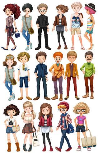 Les gens de hipster dans des vêtements à la mode vecteur