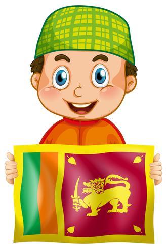 Heureux garçon et drapeau de Srilanka vecteur