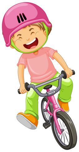 Un garçon à vélo vecteur