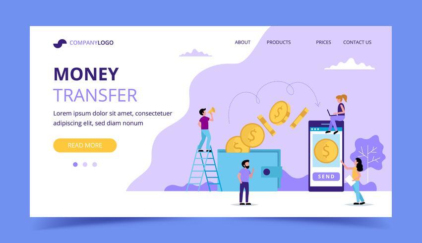 Page de destination du transfert d'argent, illustration du concept d'envoi d'argent du portefeuille au smartphone. vecteur