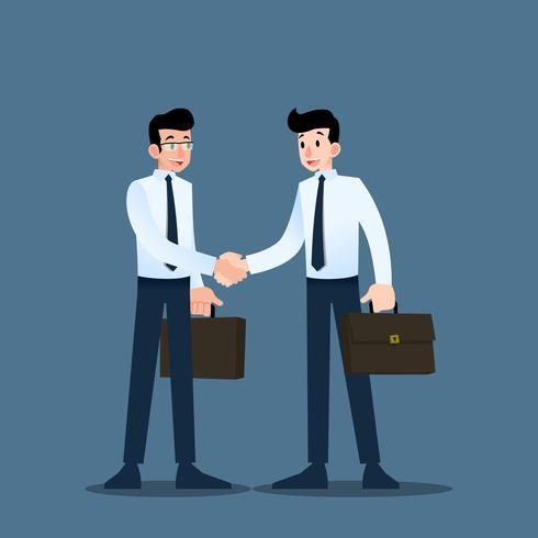 Deux hommes d'affaires debout et se serrent la main pour coopérer et conclure un accord. vecteur