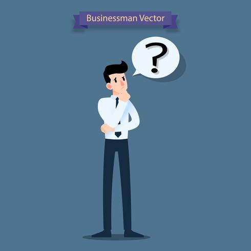Homme d'affaires pense, confus et avoir un point d'interrogation dans une bulle de dialogue. vecteur