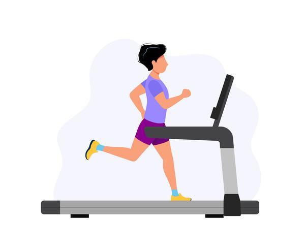 Homme qui court sur le tapis roulant, illustration de la notion de sport, exercice, mode de vie sain, activité cardio. vecteur
