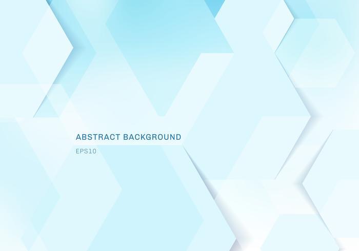Hexagones géométriques blanches abstraites et ombre sur le concept numérique de technologie fond bleu avec espace de copie. vecteur