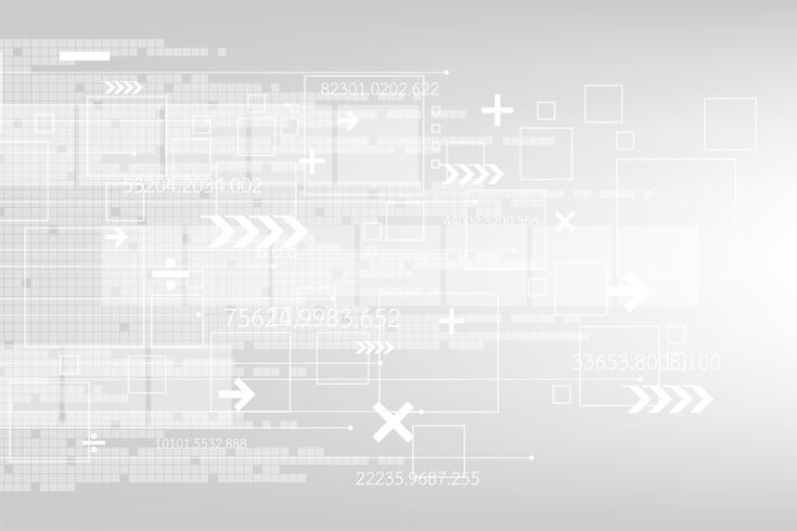 Technologie de fond abstrait Vector dans un concept numérique sur fond gris.