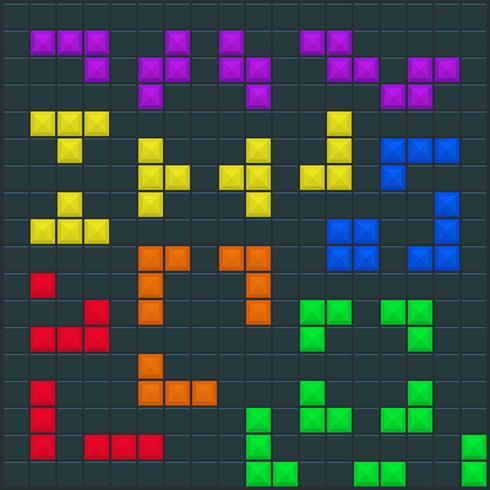 Modèle carré de jeu Tetris vecteur