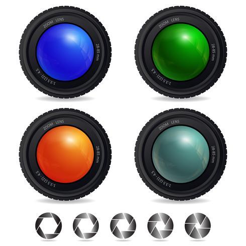 Objectif de la caméra avec différentes ouvertures d'obturateur vecteur