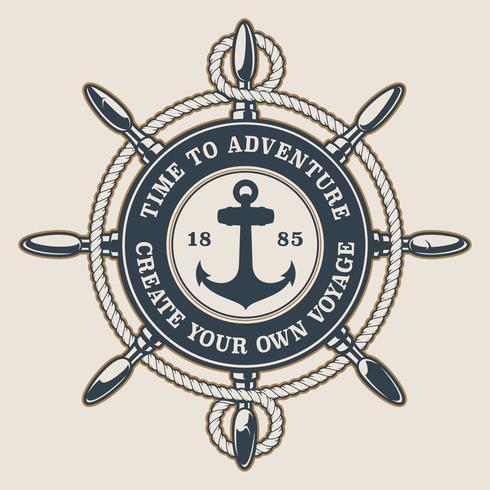 Insigne avec la roue et l'ancre du navire vecteur