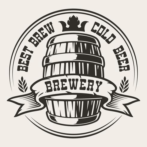 Badge avec un tonneau de bière vecteur