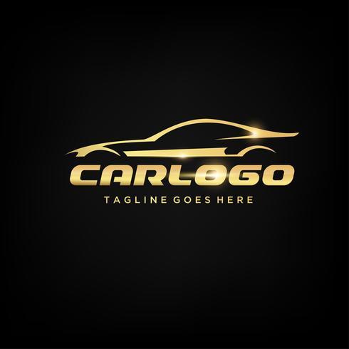 Création de logo de voiture d'or vecteur