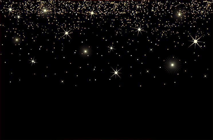 chutes d'eau paillettes d'or sparkle-bubbles particules de champagne étoiles concept de vacances bonne année fond noir. vecteur
