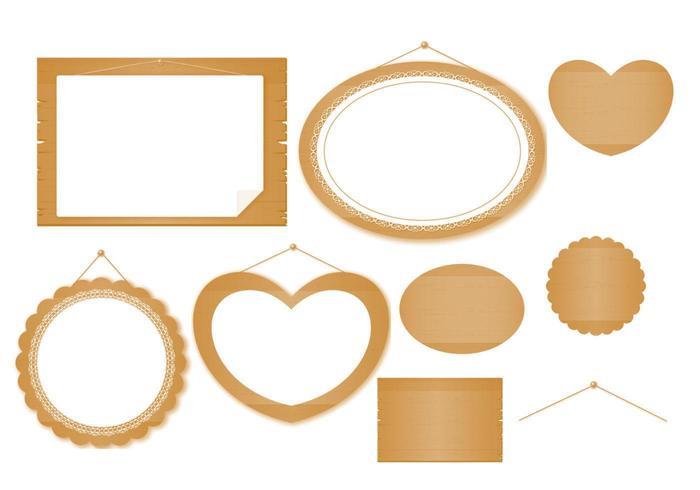 Ensemble vectoriel de panneaux de bois et dentelle et bannière