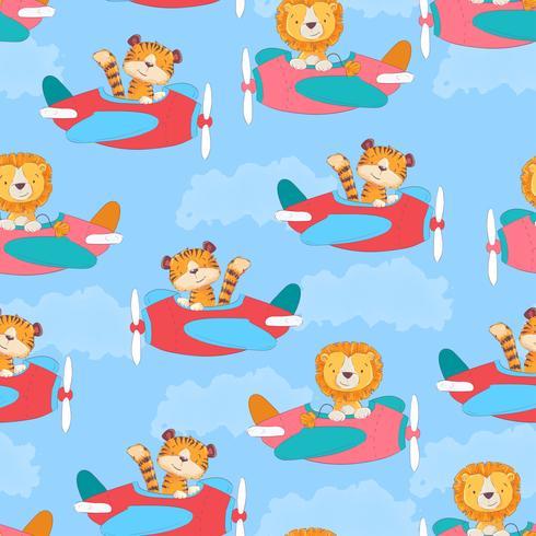 Modèle sans couture tigre mignon et Leon dans l'avion en style cartoon. Dessin à main levée. vecteur