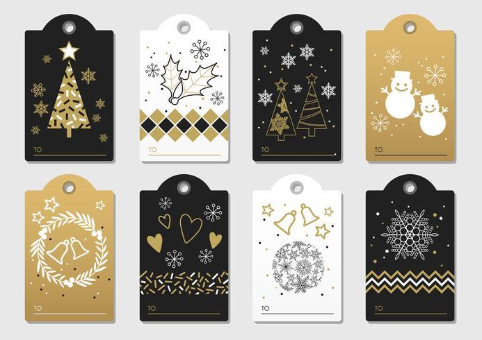 Ensemble d'étiquettes de cadeaux de Noël et de nouvel an assortis. vecteur