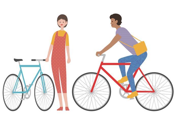 Ensemble d'un homme et une femme avec des vélos isolés sur fond blanc. vecteur