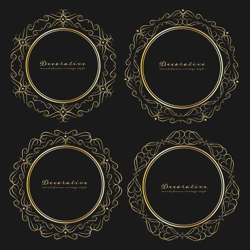 Ensemble de style vintage cadres ronds décoratifs. Illustration vectorielle vecteur