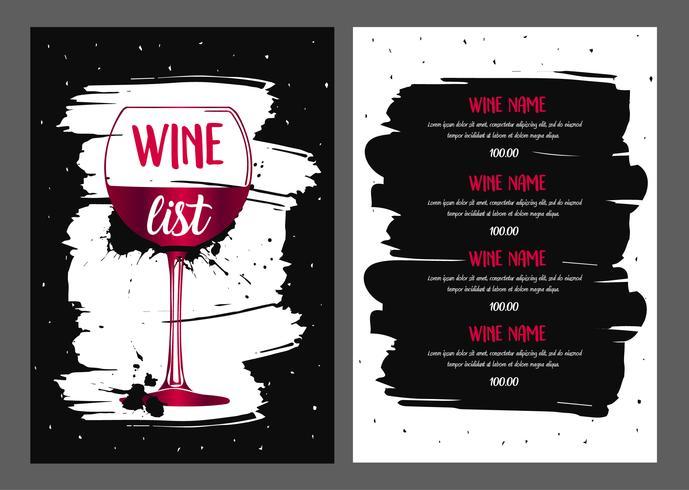 Conception de la liste des vins. vecteur