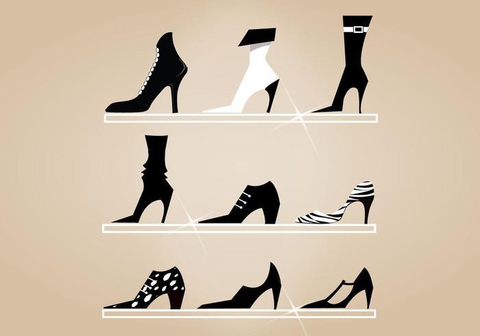 Ensemble vectoriel de chaussures à talons hauts