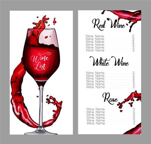 Conception de vecteur pour la liste des vins.