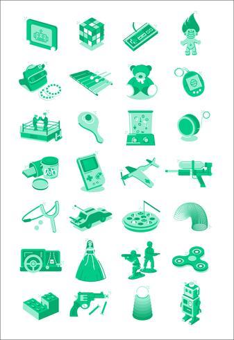 Icônes d'illustration de jouets et jeux vecteur