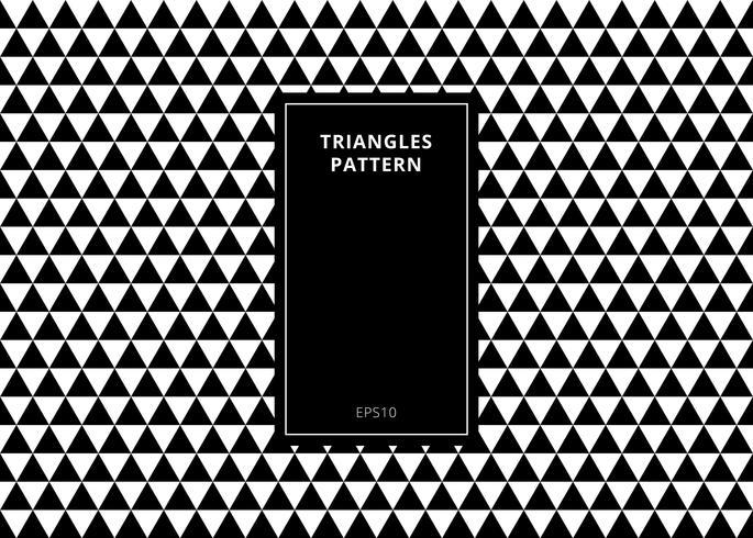 Abstrait élégant motif géométrique sans soudure élégant fait en triangles noir et blancs avec espace copie rectangle vertical cadre. vecteur