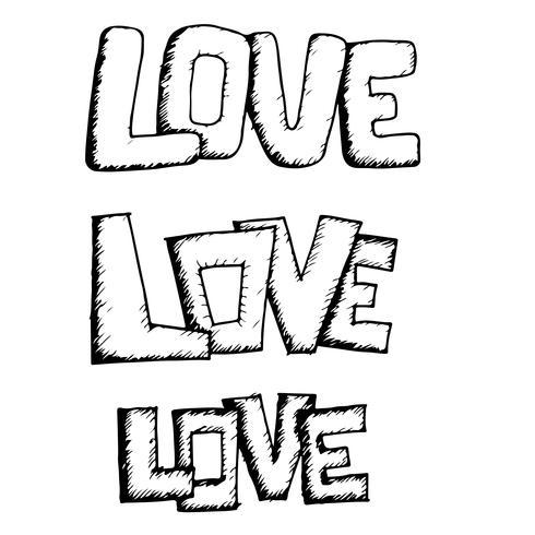 Amour texte de conception de lettrage manuscrit vecteur