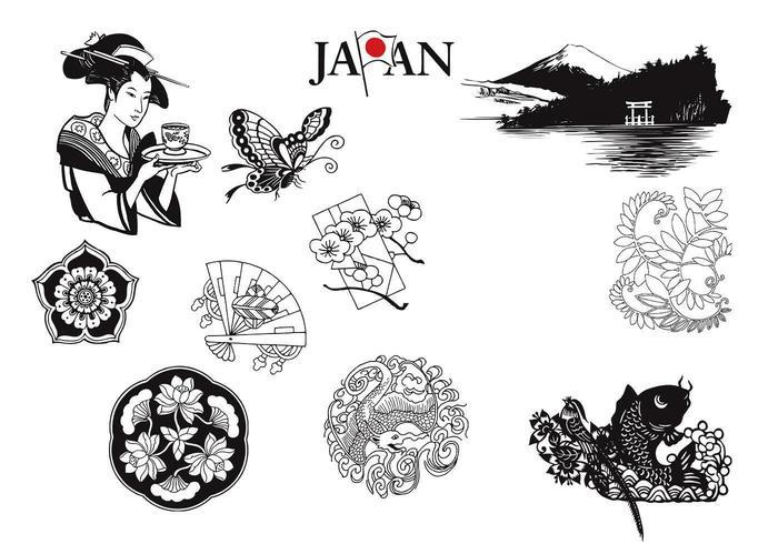 Vecteurs japonais et éléments naturels vecteur