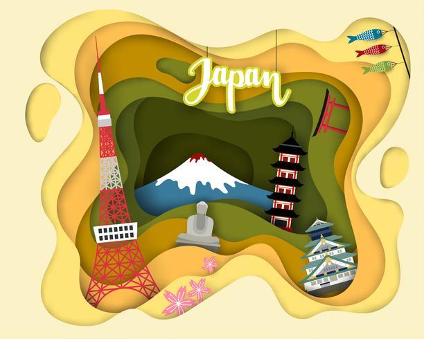 Découpe de papier de Tourist Travel Japan vecteur
