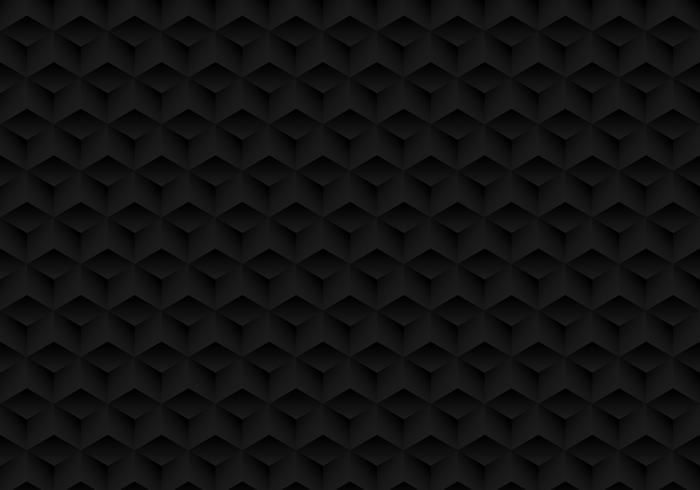 3D cubes noirs de symétrie géométrique réaliste motif texture et fond sombre. vecteur