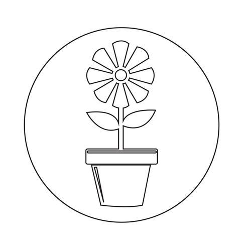 Icône de pot de fleur vecteur