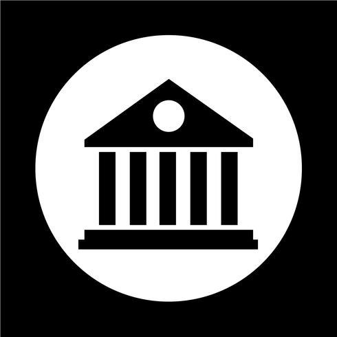 Icône du bâtiment de la bibliothèque vecteur