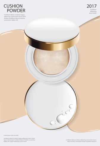 Modèle d'affiche de coussin de maquillage en poudre Illustration vectorielle vecteur