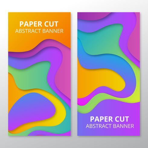 Bannières coupées de papier coloré vecteur