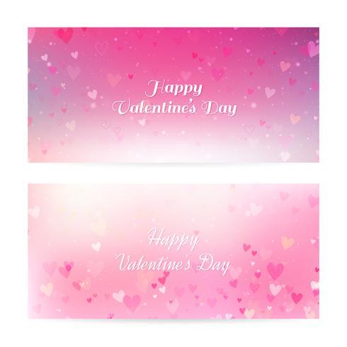 Valentin floue des bannières avec des coeurs et bokeh vecteur