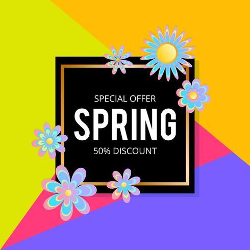 Fond de vente de printemps avec belle fleur colorée. Illustration vectorielle template.banners.Wallpaper.flyers, invitation, affiches, brochure, remise de bon d'achat. vecteur