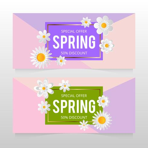 Bannière de vente de printemps avec belle fleur colorée. Illustration vectorielle template.banners.Wallpaper.flyers, invitation, affiches, brochure, remise de bon d'achat. vecteur