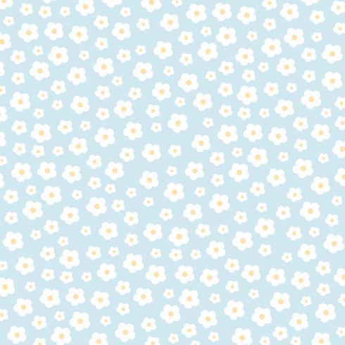 Fleurs blanches sur fond bleu vecteur