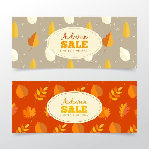 Bannières de vente d'automne vecteur